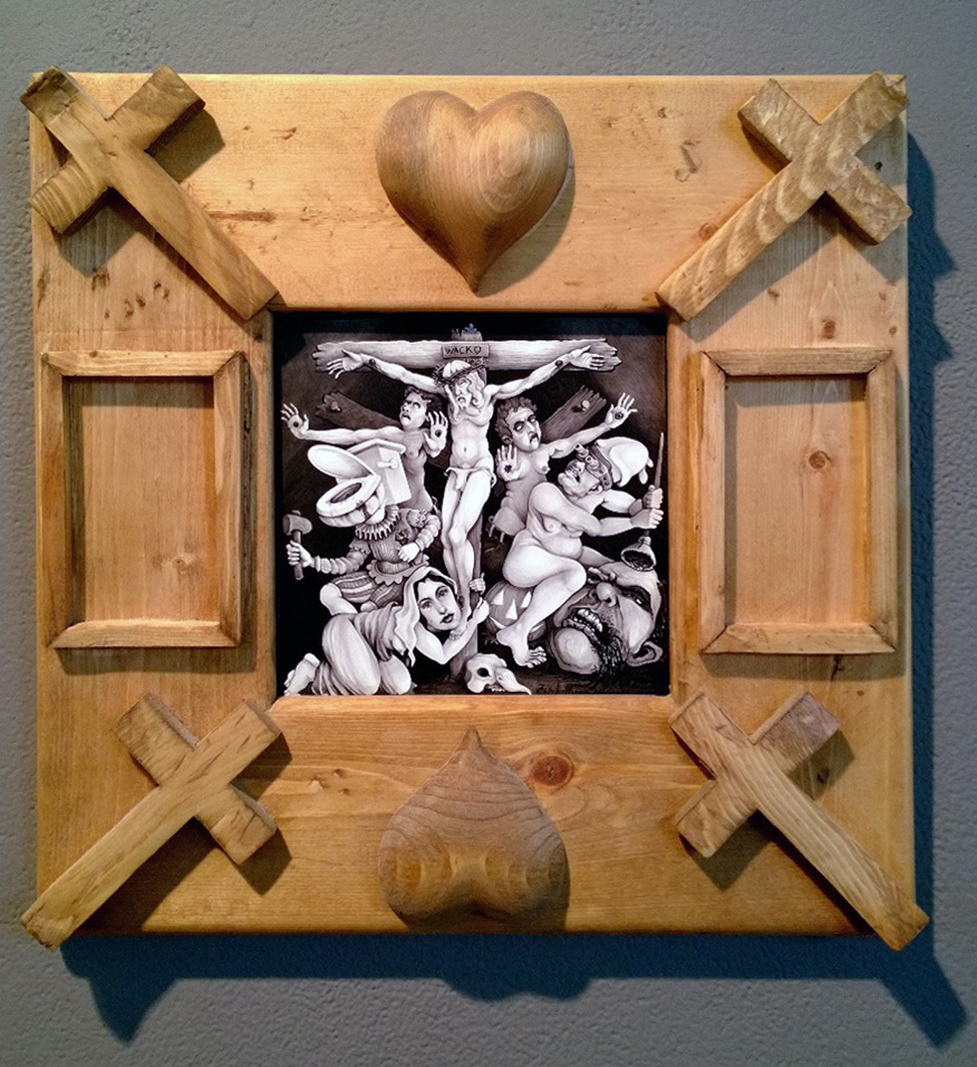 Brushed ink & pyrography, 6 x 6 in. (in larger hand carved frame) $550.00 Sold