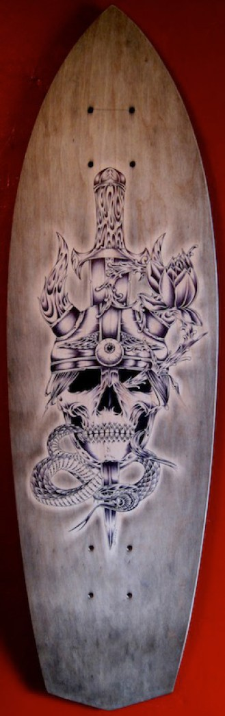 Ballpoint Pen on Wood, 30 x 8.5 in. $750.00