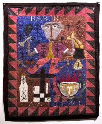 Fabric, sequins, and beads, 32.5 x 40 in. $8,000.00