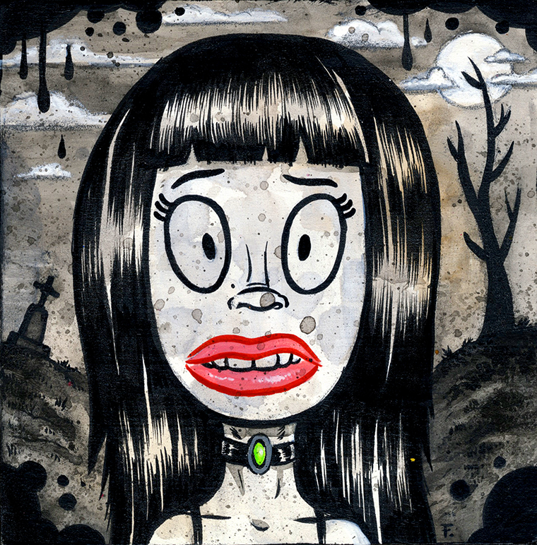 """Frank Forte - Goth Girl Brooding in a CemeteryAcrylic, ink, and charcoal on raised wood panel, 4x4"""", $150"""