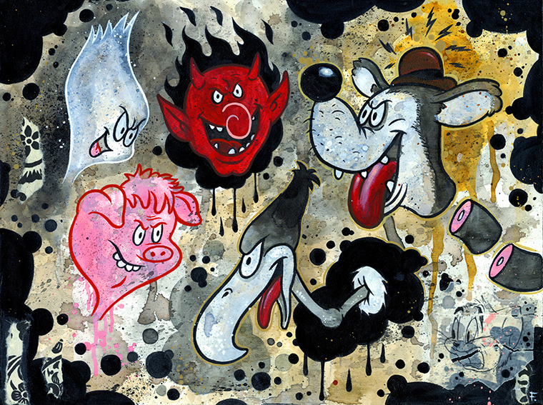 "Frank Forte - Laugh 'O Grams 1Acrylic, ink, cut paper and charcoal on raised wood panel, 9x12"", $300"