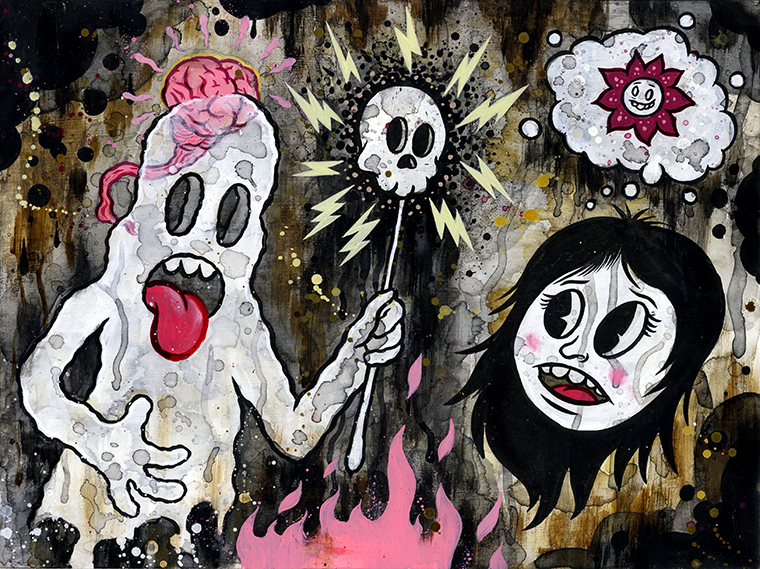 "Frank Forte - Macabre Ghost DreamsAcrylic, ink and charcoal on raised wood panel, 9x12"", $300"