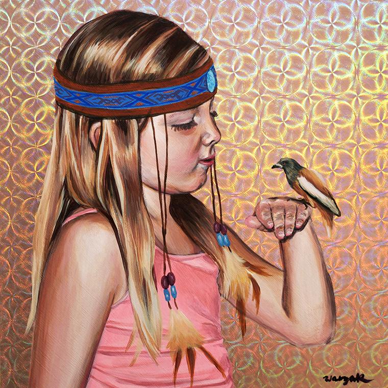 "Nicole Waszak - Little Bones Do FlyAcrylic on holographic paper on wood panel, 8x8"", $300"