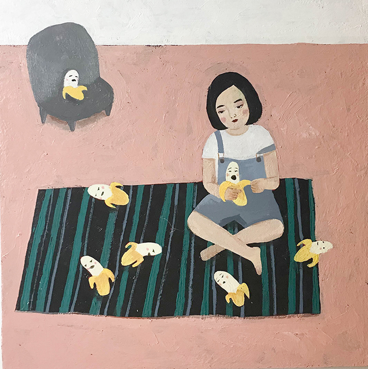 "Tanny Chang - Peel MeAcrylic on wood, 7x7"", $150"
