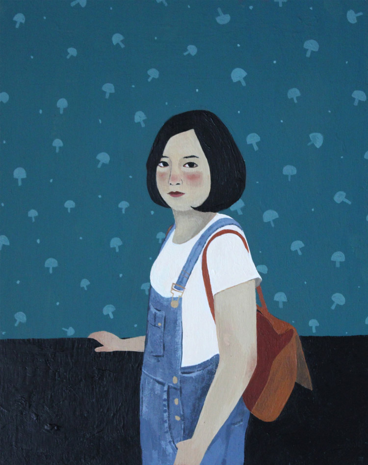 "Tanny Chang - SophieAcrylic on wood, 7x14"", $100"