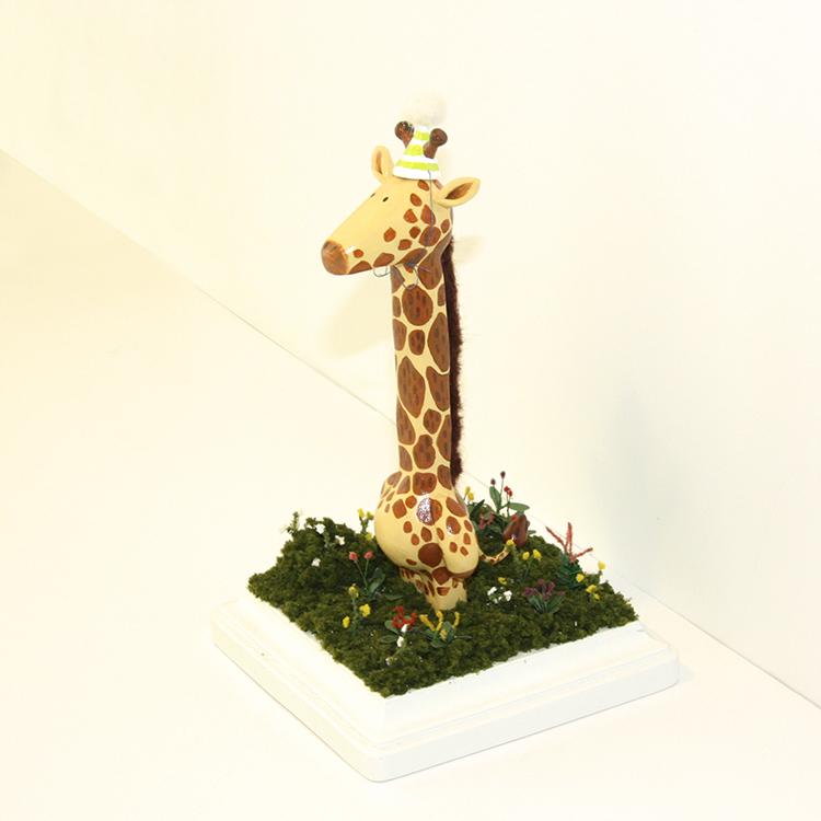 "Sadie Han - GiraffeSculpy, acrylic, etc. 4x4x7"", $400"