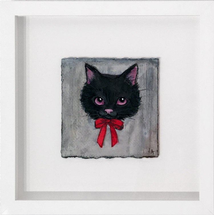 "Jessicka Addams - 1992 Acrylic on paper, 5x5"" in 12x12"" frame, $425"