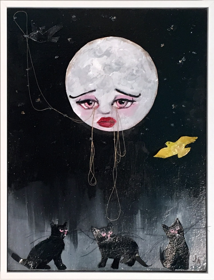 "Jessicka Addams - The Intervention of the Moon Acrylic and mixed media on panel, 9.75x12.75x1.25"", $600"