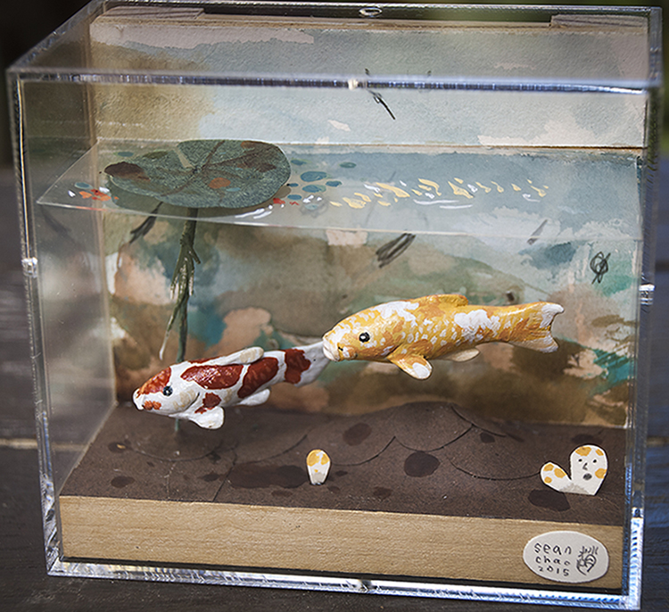 "Sean Chao - Koi (West)paper, polymer clay & acrylic, 4.25x3.75x2.25"", $200"