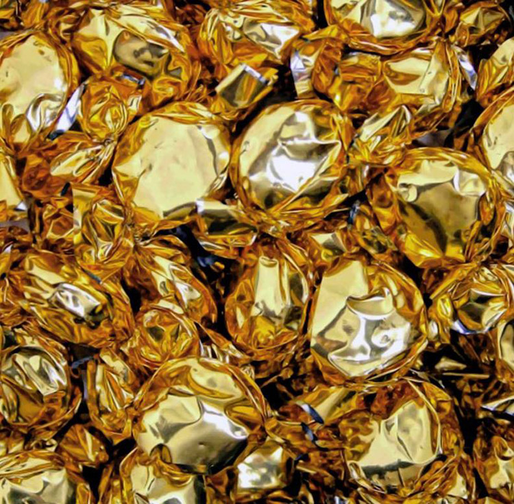 "Robert Craig - Gold Foil Chocolate CandiesOil and acrylic on linen, 40x40"", $5,000"