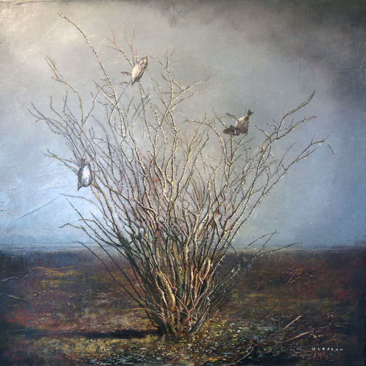 """Mark Gleason - Aftermath Oil on canvas, 18x18"""" framed, $1,500"""