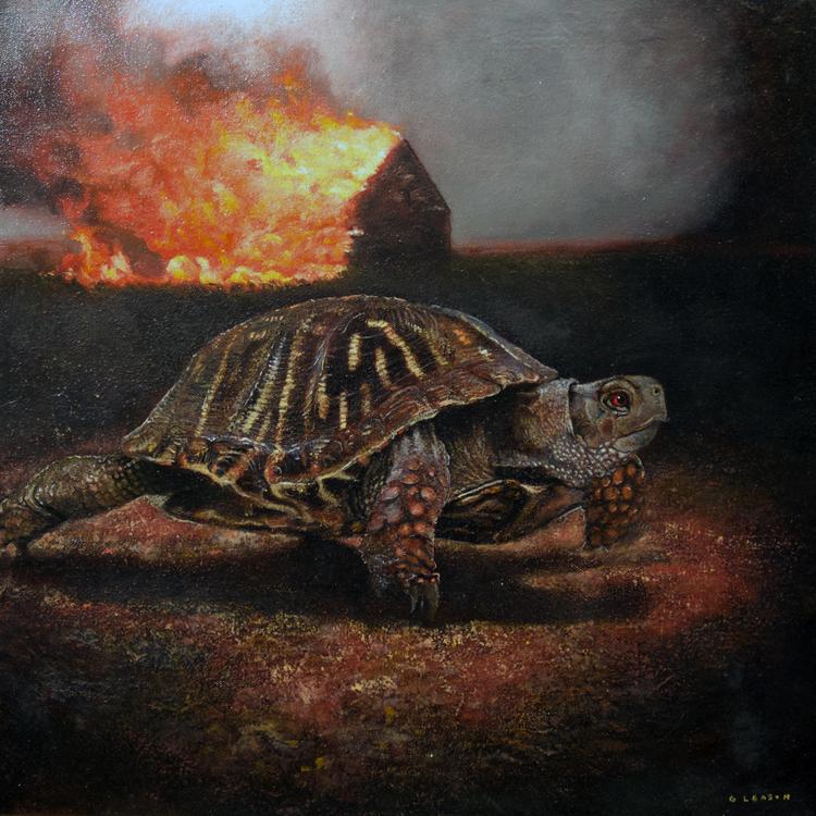 "Mark Gleason - Gamera Oil on canvas, 16x16"" framed, $1,500"