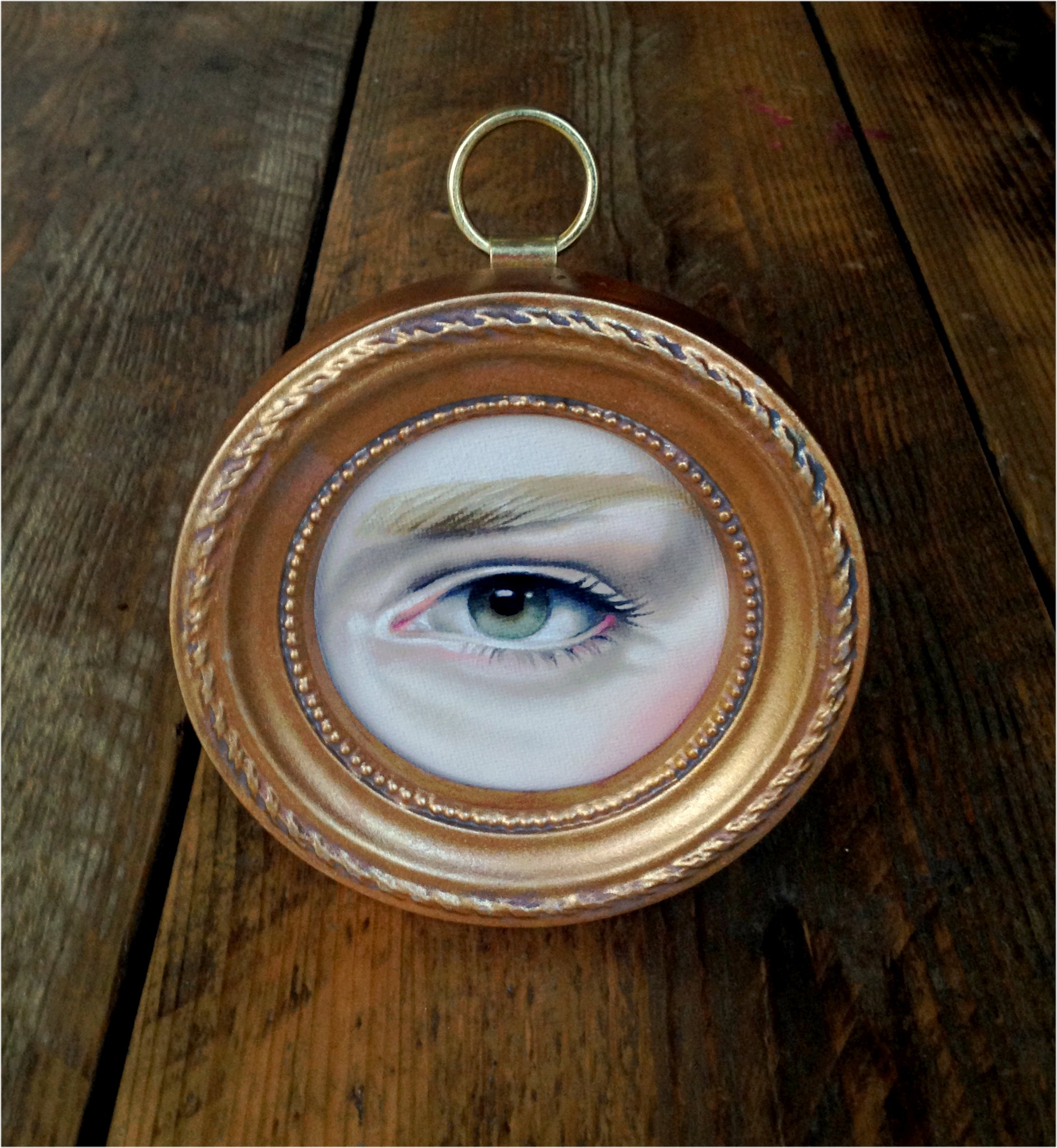 "Emma Mount - Lover's Eye oil on canvas board, 3"" tondo in 5"" frame, $200"