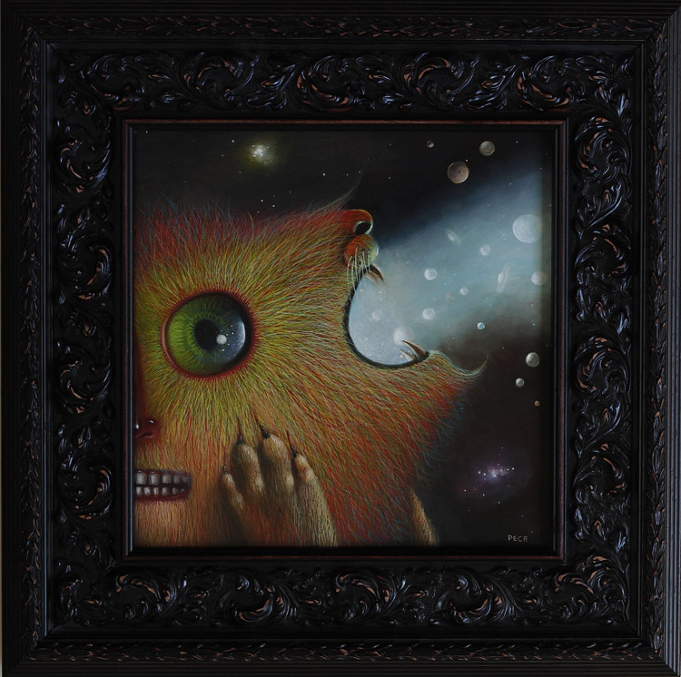 "Peca  - MantraOil on woodenboard, 12x12"" (17x17"" framed) $1500"