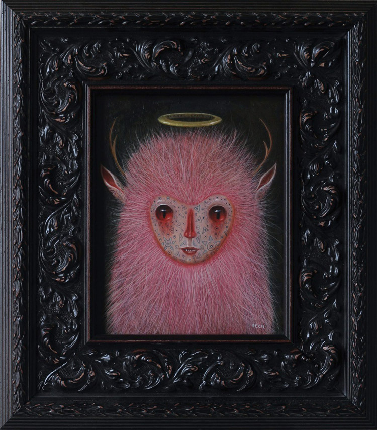 "Peca  - Nocturnal ChichijalOil on woodenboard, 7x9.5"" (14.5x16"" framed) $750"