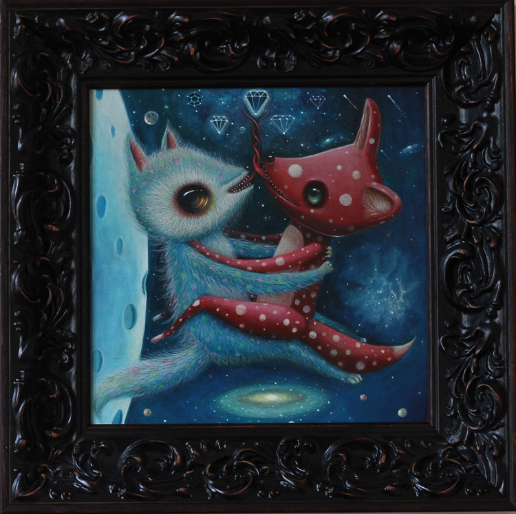 "Peca  - Peace Activists (Diamonds)Acrylic on woodenboard, 12x12"" (17x17"" framed) $1500"