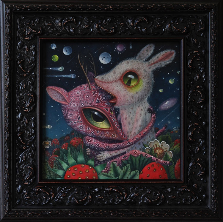 "Peca  - Peace Activists (Strawberries)Oil on woodenboard, 12x12"" (18x18"" framed) $1500"