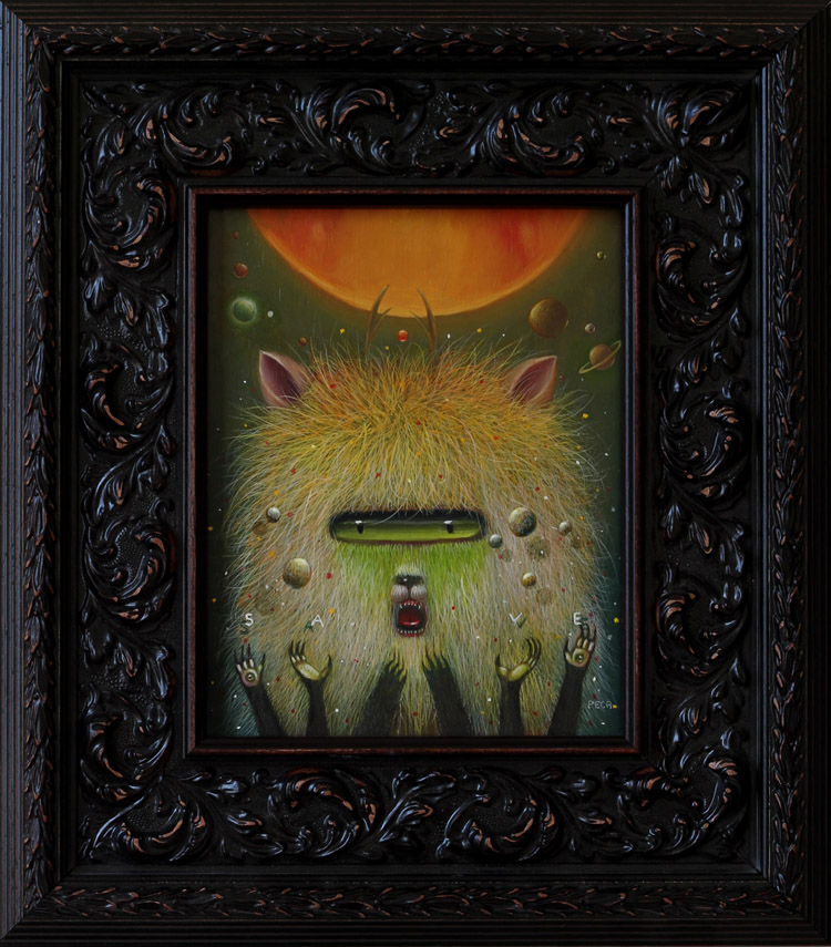 "Peca  -  ProphesierOil on woodenboard, 7x9.5"" (14.5x16"" framed) $750"