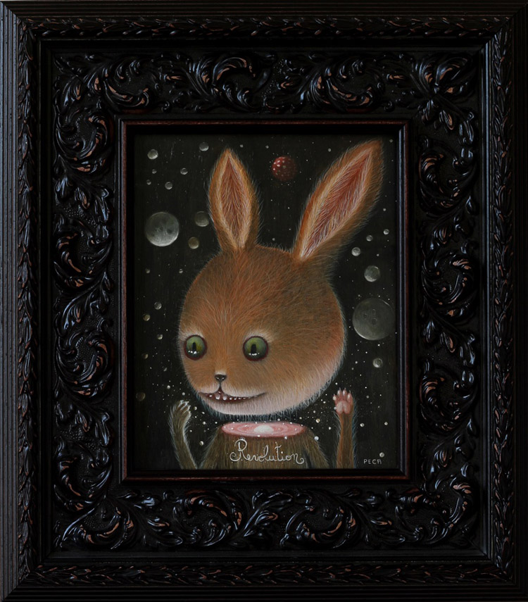 "Peca  - RevolutionsOil on woodenboard, 7x9.5"" (14.5x16"" framed) $750"