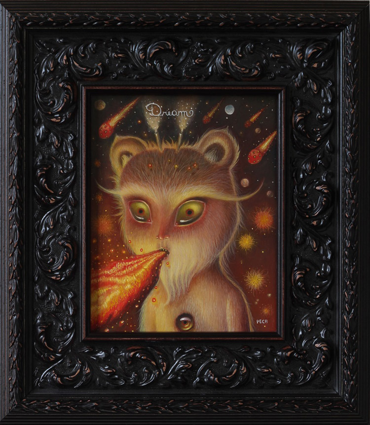 "Peca  - The EmptinessOil on woodenboard, 7x9.5"" (14.5x16"" framed) $750"