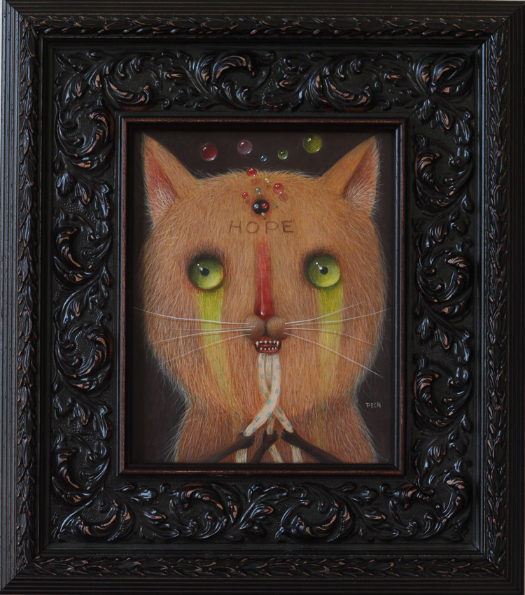 "Peca  - VibrationOil on woodenboard, 7x9.5"" (14.5x16"" framed) $750"