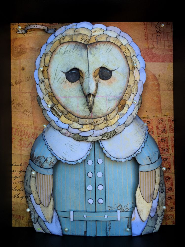 "Lena Rushing - Blue DressPrinted cardstock, ink, needles and shadowbox, 9x11x3.75"" $300"
