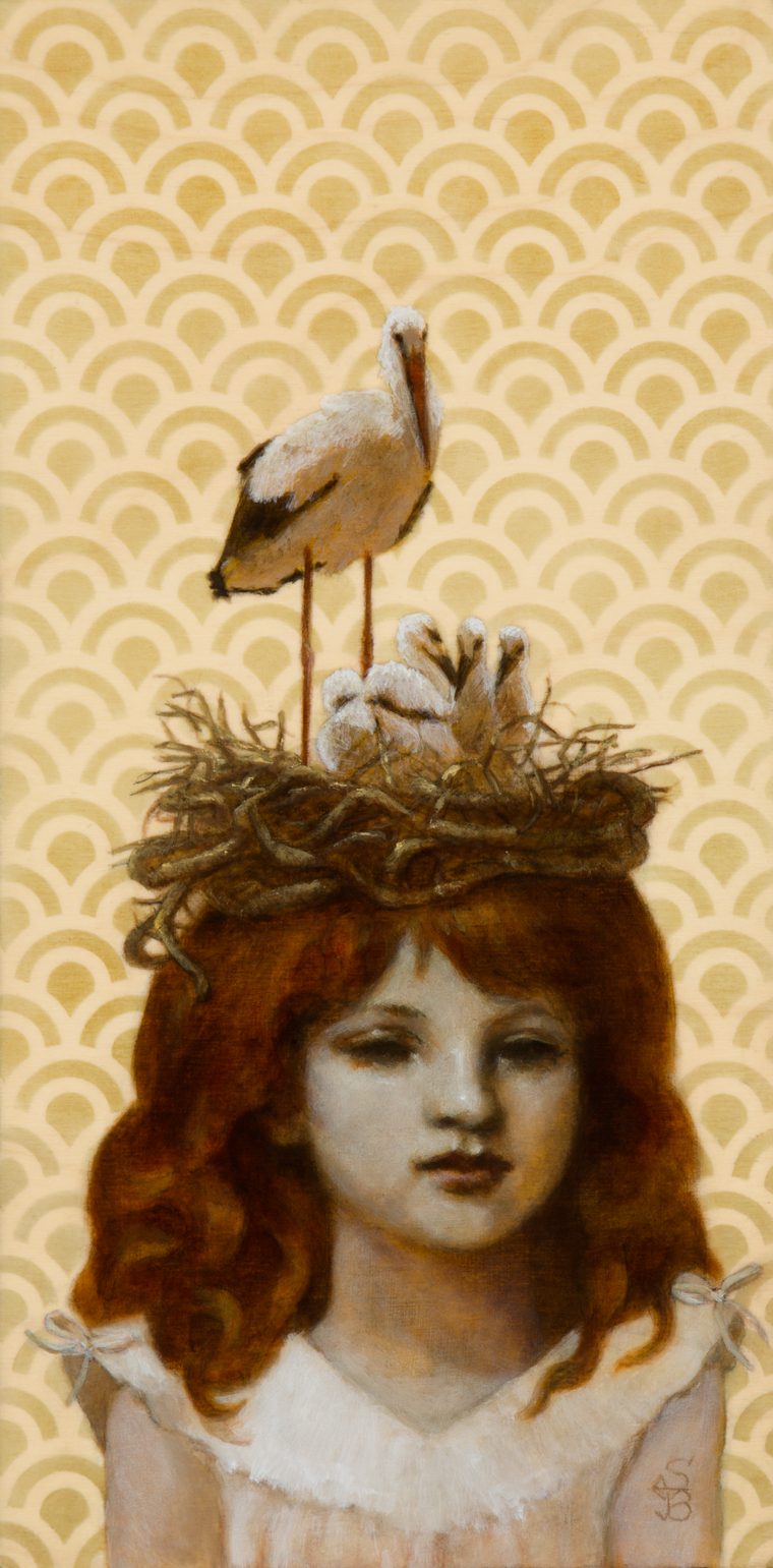 "Deirdre Sullivan-Beeman - Bird Nest Girl2016, Oil and tempera on wood, 6x12"" (10x16"" framed) $500"