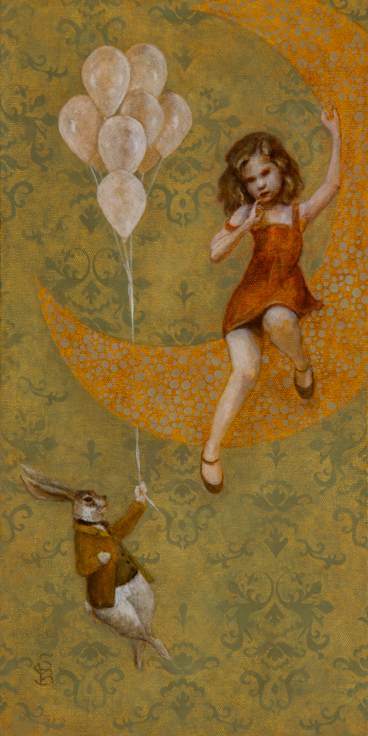 "Deirdre Sullivan-Beeman - Moon Girl2016, Oil and tempera on linen panel, 8x16"" (12.5x20.5"" framed) $700 Sold​"