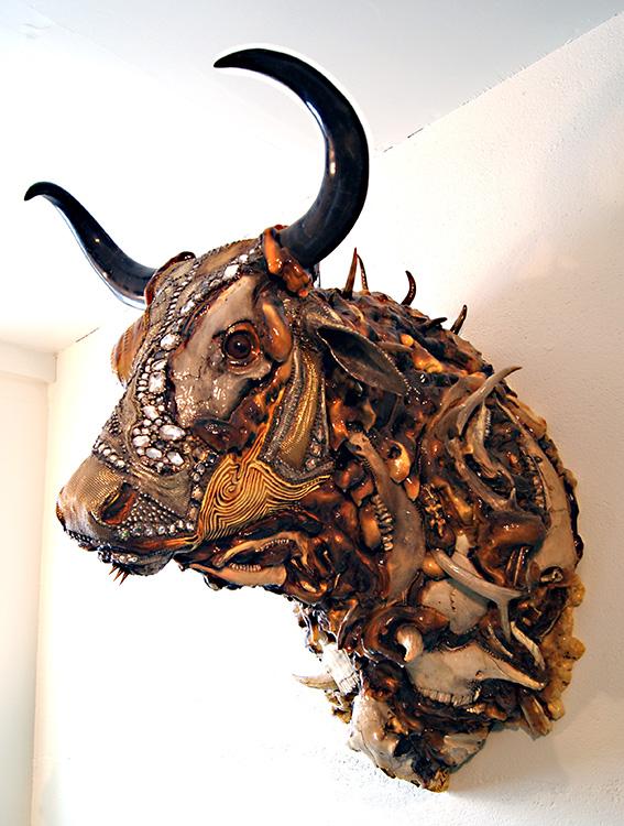 """Mikal Winn - Beefybone/skull/horn/glass/brass/Swarovski crystals. 27x48x39"""", $12,000"""