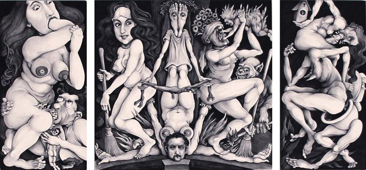 """Bruce Eichelberger - Sirvienta (triptych) black ink on clayboard, 3x6"""", 6x6"""", 3x6"""" $1,200"""