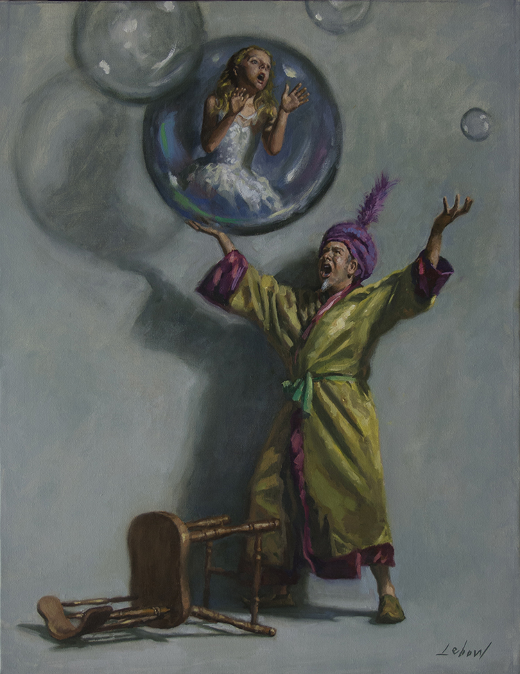 "Dave Lebow - Evil Genie Oil on canvas, 27x21"", $2,500"