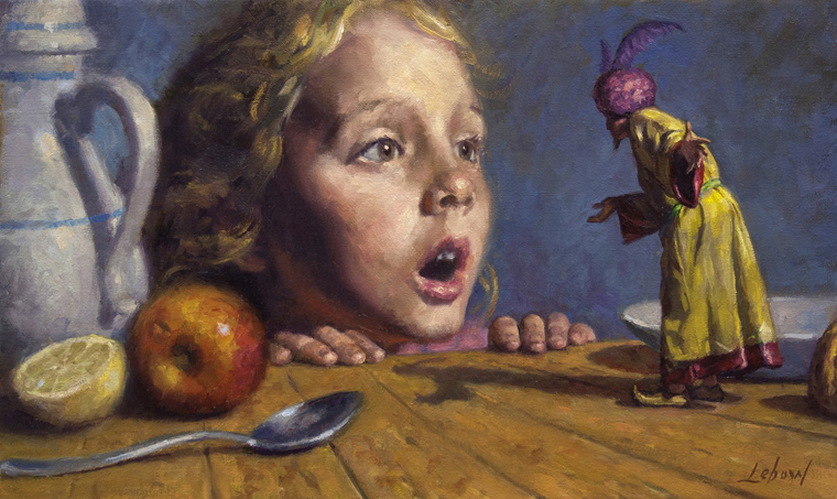 "Dave Lebow - Young Girl With GenieOil on canvas, 12x20"", $3,000 Sold"