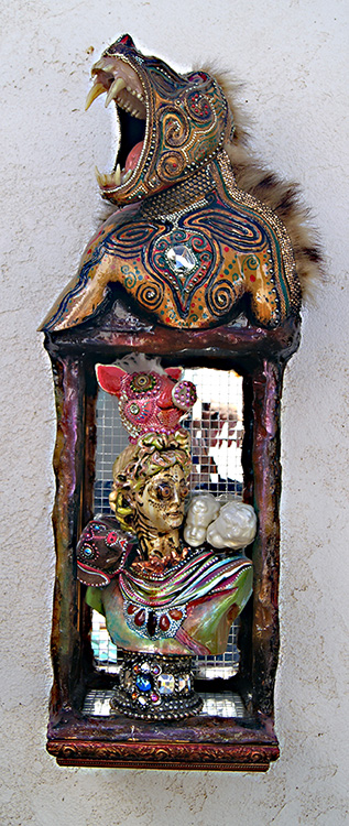 "Mikal Winn - Politicstaxidermy/Swarovski crystals/brass/glass/found objects. 13x35x11"", $2,400"