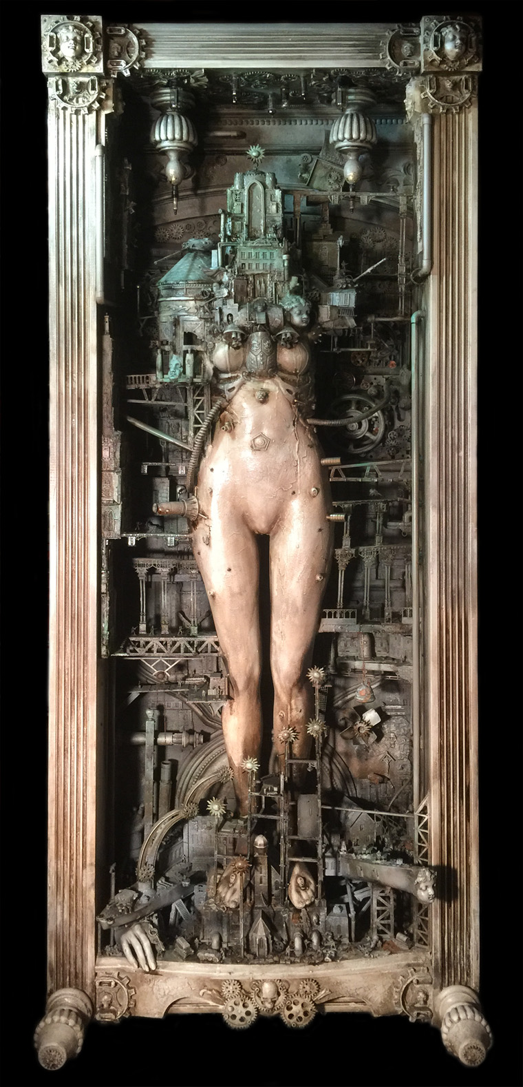 "Krystopher Sapp - Metropolis Based on ""Metropolis"", fiber glass body, resin castings, with frame built from old diner table and bed frame, car parts and sewing machine parts, 24x96x10"" $10,000"