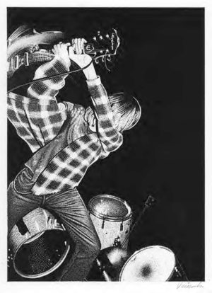 Jim Blanchard - Kurt Cobain India Ink & White Gouache on Bristol, 11x14 in. $1,500