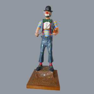 Sonny King - Clown with Violin Polymer clay, wood, acrylic paint. 9x3.5x3.5 in. $5,500