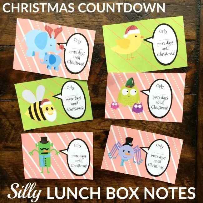 Christmas Countdown Lunchbox Notes - Free Printable - LalyMom