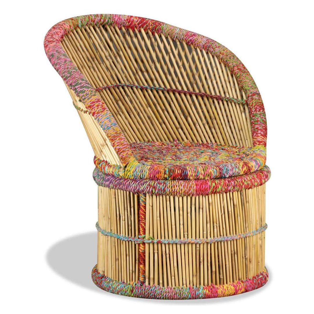 Chaise En Bambou Chaise Bambou Indi Paon Multicolore