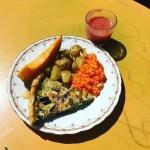 Assiette Composée : Gaspacho / Melon / Quiche Courgettes, Champignons, Aubergines / Pommes de Terre au Four / Carottes Râpées et Feta