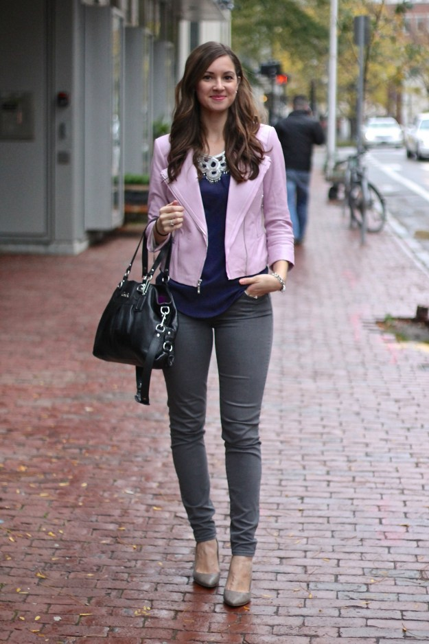 Baby Pink Leather Jacket with Deep Blues & Greys