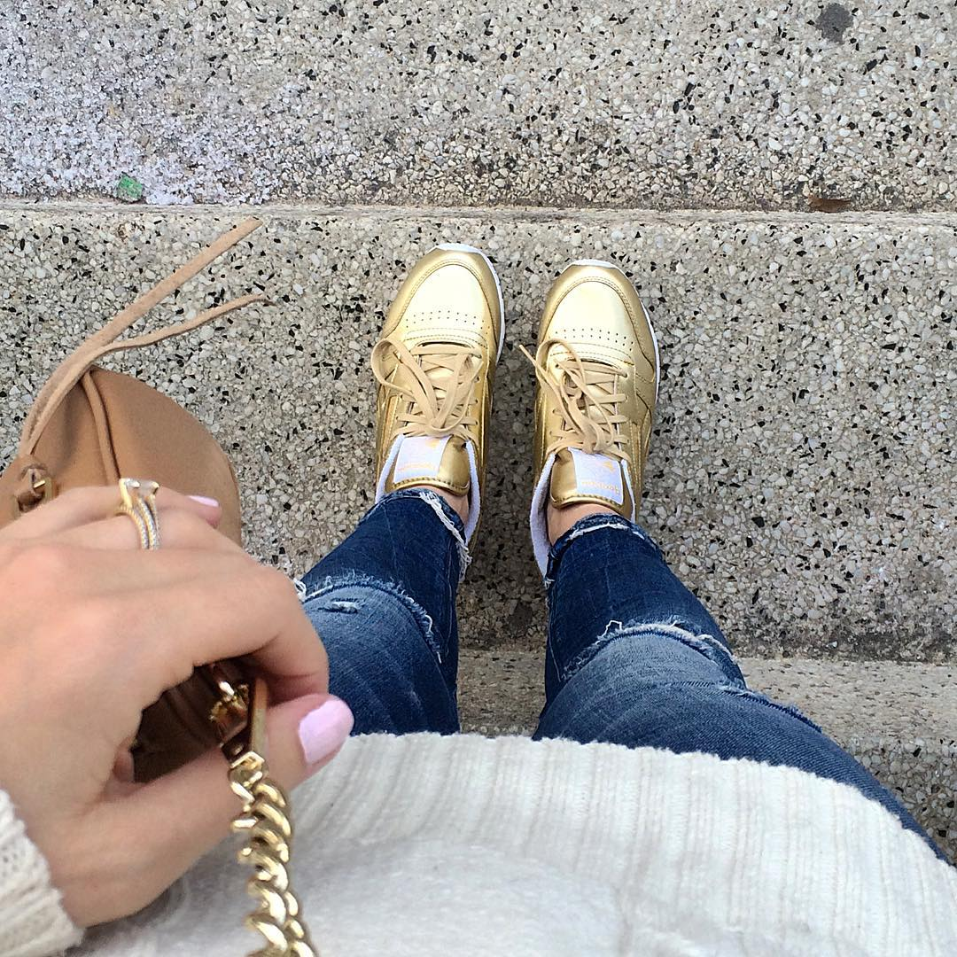 Stepping out into the 60 weather in these gold babieshellip