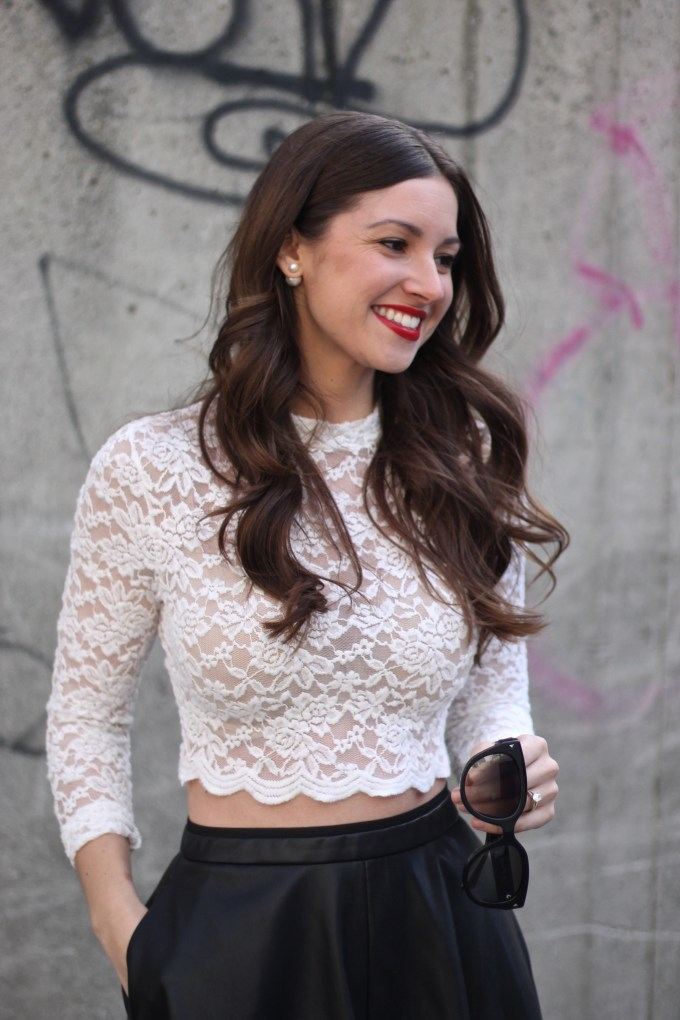 H&M Lace Crop Top and Zara Leather A-line Skirt