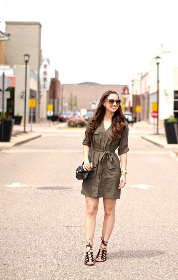 Express Olive Silk Shirtdress and Lace-up Sandals