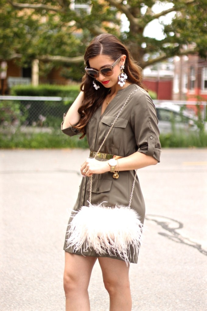 Green Military Shirt Dress by Express with Blush Fluffy Feathered Clutch by Aldo