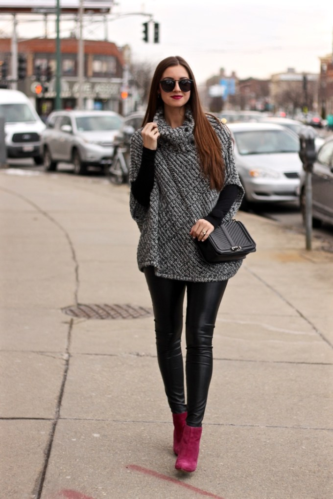 Winter Outfits: Poncho, Leather Pants and magenta cole haan booties