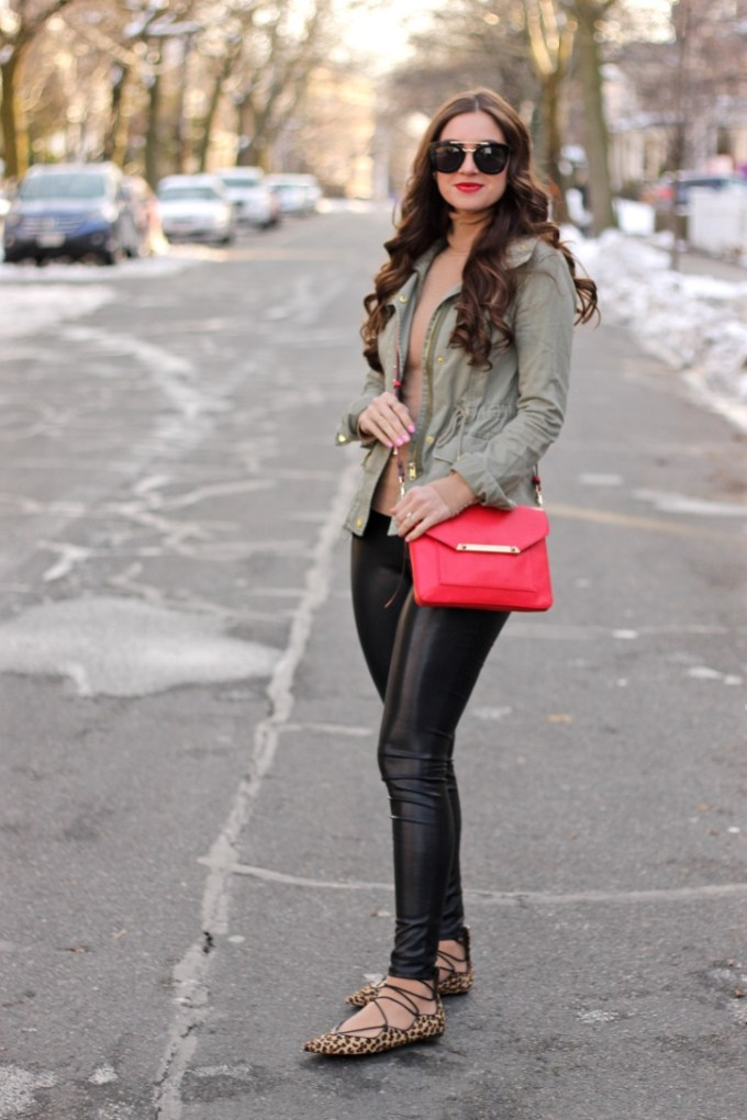 Military Green Jacket, Leather Pants, Leopard Pointy Lace-up Flats