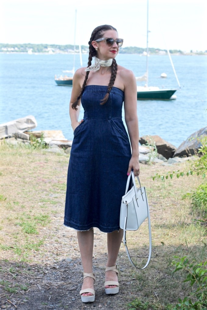 La Mariposa: Denim Dress, Strapless Denim Dress, Jean Derss, Dress with frayed hem, unraveled hem denim dress, jean dress, anthropologie denim dress, denim midi dress