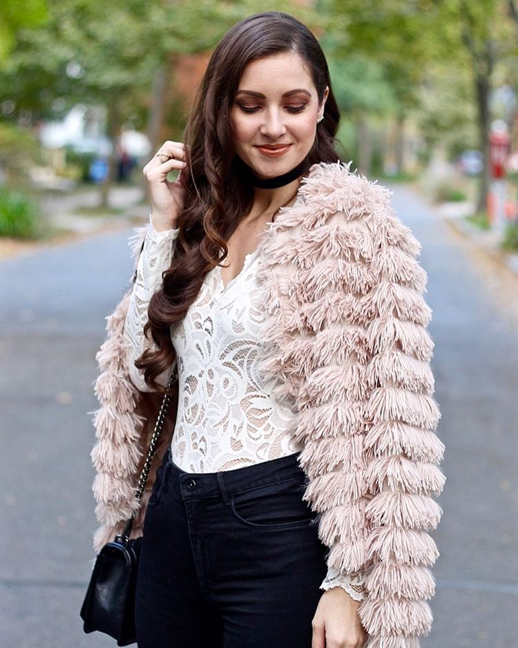 Feeling all about this fuzzy blush coat from shopjessakae hellip