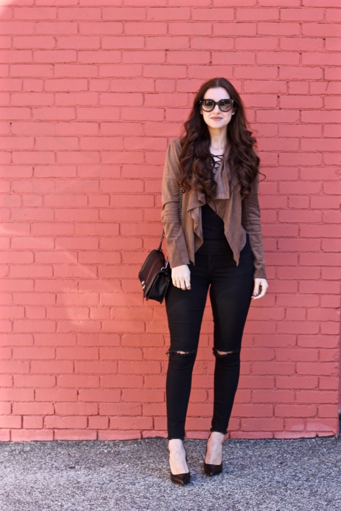 La Mariposa Blog, Express Black Lace-up Shirt, Suede Waterfall Jacket, Fall Outfit Idea