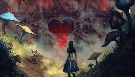 alicia ante un corazón grande